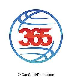 ikon, logo, konstruktion, uendelighed, globale, illustration, 365, vektor, verden