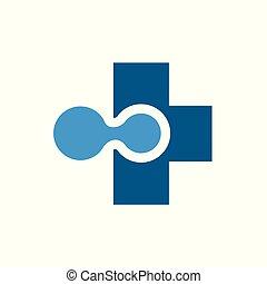 ikon, logo, medicinsk, vektor, teknologi
