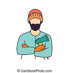 ikon, lumberman, mód, karikatúra