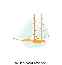 ikon, mód, karikatúra, csónakázik
