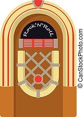 ikon, mód, pénzbedobós gramofon automata, karikatúra