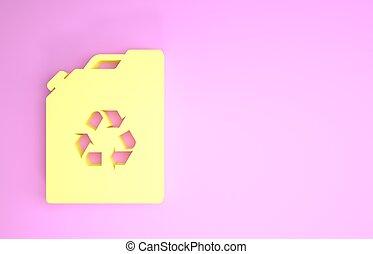 ikon, miljö, eco, kanister, render, minimalism, isolerat, bio, gul, drivmedel, illustration, concept., grön, bakgrund., rosa, barrel., recycle., 3