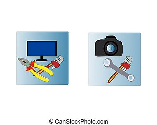 ikon, nätverk, enheter, set., mobil