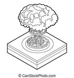 ikon, nukleär, stil, explosion, skissera