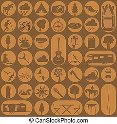 ikon, outdoors., fotvandra, sätta, camping