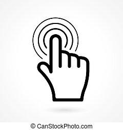 ikon, pegepind, eller, hånd, falde i hak