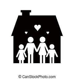ikon, pictogram, familj, hus