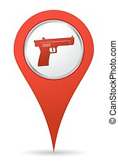 ikon, pisztoly, elhelyezés