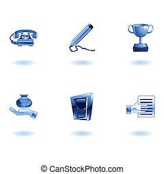 ikon, sätta, kontor, affär, glatt