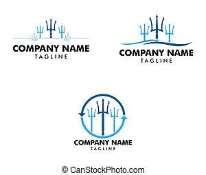 ikon, sätta, logo, mall, treudd, illustration, design, vektor