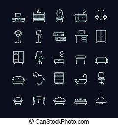 ikon, sätta, svart fond, möblemang