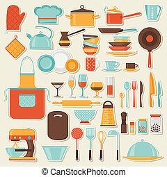 ikon, sätta, utensils., kök, restaurang