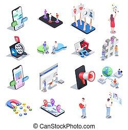 ikon, sæt, sociale, netværk