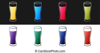 ikon, sör, elszigetelt, háttér., pohár, állhatatos, fehér, vektor, fekete