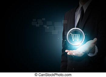 ikon, shoppa vagnen, affär, hand
