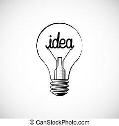 ikon, skiss, idea., skapande, begrepp, klotter, different., lök, tänka, skylt., hand, vektor, oavgjord, lätt