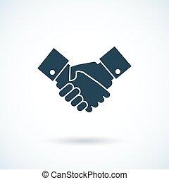 ikon, skugga, handslag
