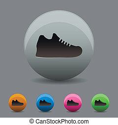 ikon, skugga, tennisskor, design, lägenhet, färgad