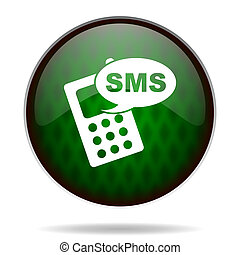 ikon, sms, internet, grön