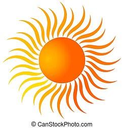 ikon, sol, lutning, färg, skapande