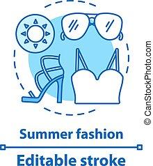 ikon, sommar, begrepp, mode