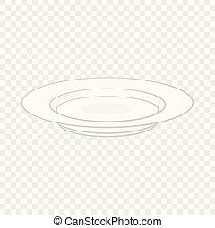 ikon, soppa, stil, tecknad film, tallrik