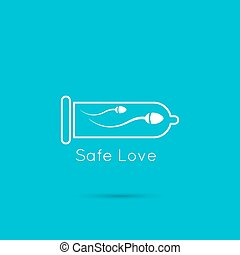 ikon, sperma, ind, en, kondom