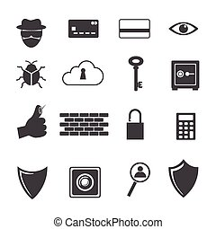 ikon, stor, brottsling, dator informationer