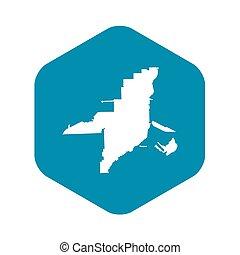 ikon, térkép, mód, florida, egyszerű