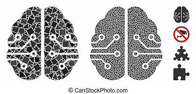 ikon, trembly, elementara, hjärna, mosaik, elektronisk