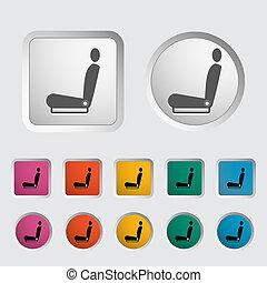 ikon, upphettad, seat.