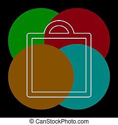 ikon, väska, vektor, inköp, mode