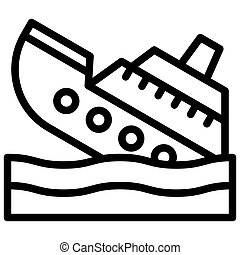 ikon, vektor, csőd, kapcsolódó, süllyesztés hajó
