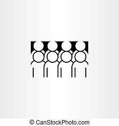 ikon, vektor, gruppe, clipart, folk