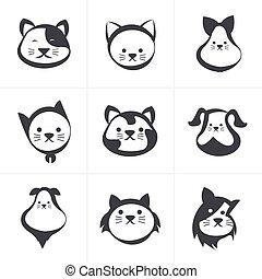 ikon, vektor, illustration, katt