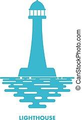 ikon, vit, blå, lighthouse., fyr, vågor, illustration, bakgrund.