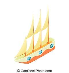 ikon, vitorlás hajó, mód, karikatúra