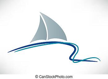 ikon, yacht, vektor, silhuett