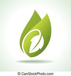 ikona, świeży, zielony liść