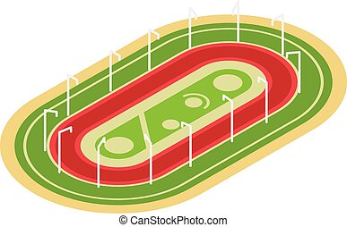 ikona, arena, styl, wyścigi, isometric
