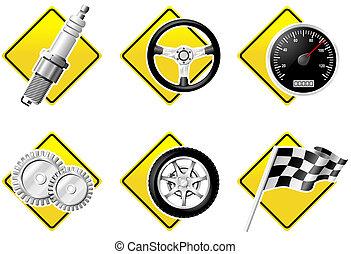 ikona, automobil, -, dva, díl, dostihy