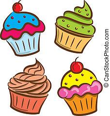 ikona, barwny, cupcake