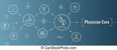 ikona, chodnikowiec, lekarz, troska, chorągiew, sieć, -, ...