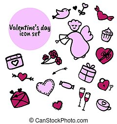 ikona, collection., dzień, valentine, pociągnięty, s, komplet, ręka