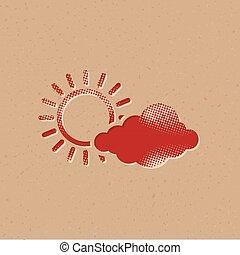 ikona, częściowo, -, halftone, pochmurny, prognoza