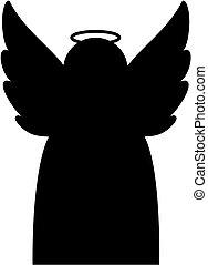 ikona, czarnoskóry, anioł, silhouette.