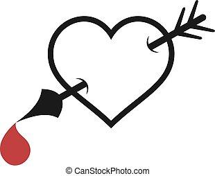 ikona, dolegać, miłość