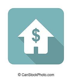 ikona, dom, skwer, dolar