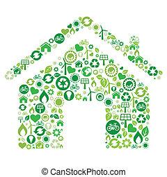 ikona, dom, zielony