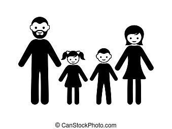 ikona, dzieci, rodzina, dwa